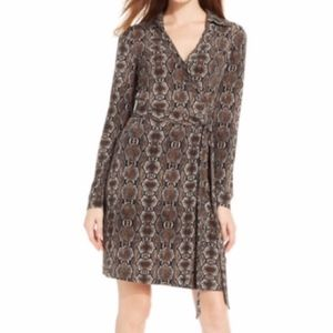 Calvin Klein snakeprint wrap dress long sleeves 10